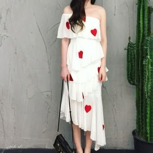 White ruffled asymmetric tiered midi dress hearts